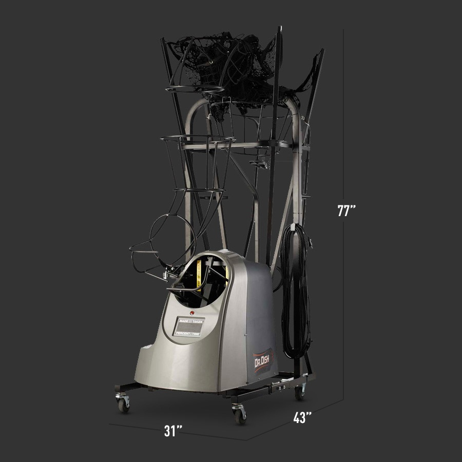Collapsed Dr. Dish Basketball Shooting Machine with Measurements